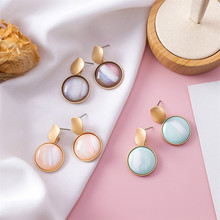 Irregular Disc Geometric Earrings Short Abstract Texture Stud Women Jewelry Sweet Fashion