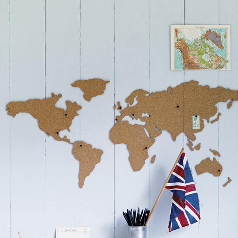 Large size cork wood phellem wall world map office school home large size cork wood phellem wall world map office school home decoration map cork board sticker pins board wood map jumbo in map from office school gumiabroncs Images