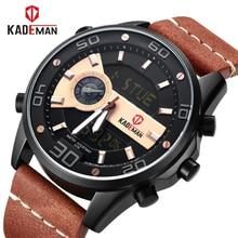 KADEMAN Luxury Men Watch Brand Fashion Sports Watches Men's Waterproof Quartz Date Clock Man Leather Army Military Wrist Watch