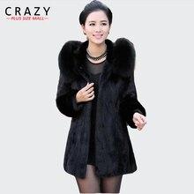 S-6XL Для женщин с капюшоном; Лидер продаж; Искусственный мех пальто размера плюс 7XL 5XL Винтаж искусственный Черная; большого размера шуба из искусственного лисьего меха с капюшоном для девочек