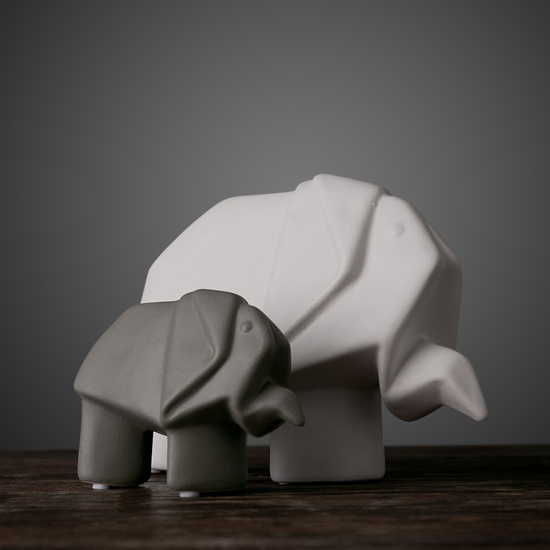 Ceramic Sculpture/Origami Elephant/Nordic Modern TV Cabinet Ornament /Wedding Decoration/Ceramic Statu/Home Decoration