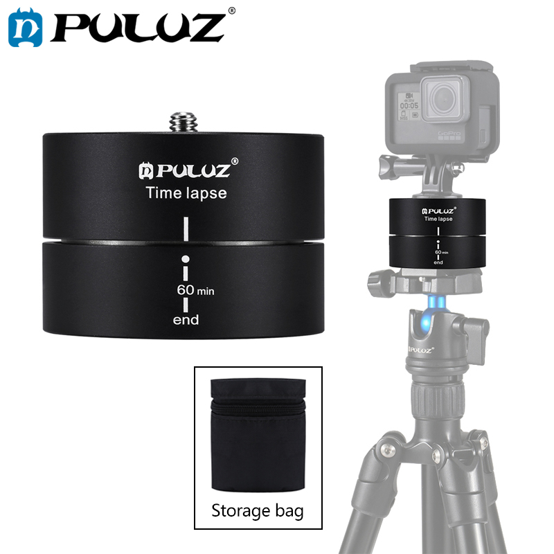 PULUZ Camera Time lapse 360 Panoramic Panning Rotation 60/120 Minutes For Gopro/iphone Stabilizer Tripod Head Adapter TimelapsePULUZ Camera Time lapse 360 Panoramic Panning Rotation 60/120 Minutes For Gopro/iphone Stabilizer Tripod Head Adapter Timelapse