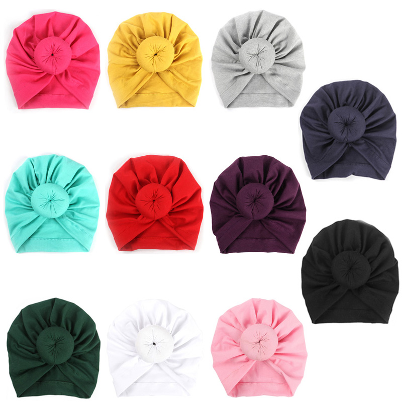 Fashion Donut Baby Hat Newborn Elastic Cotton Baby Beanie Cap Multicolor Infant Turban Hats 1 PC in Hats Caps from Mother Kids
