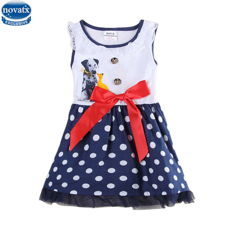 A-line dress children clothes summer cotton shortless printed cute cartoon with red bow girl dress nova kids 2015 hot sale