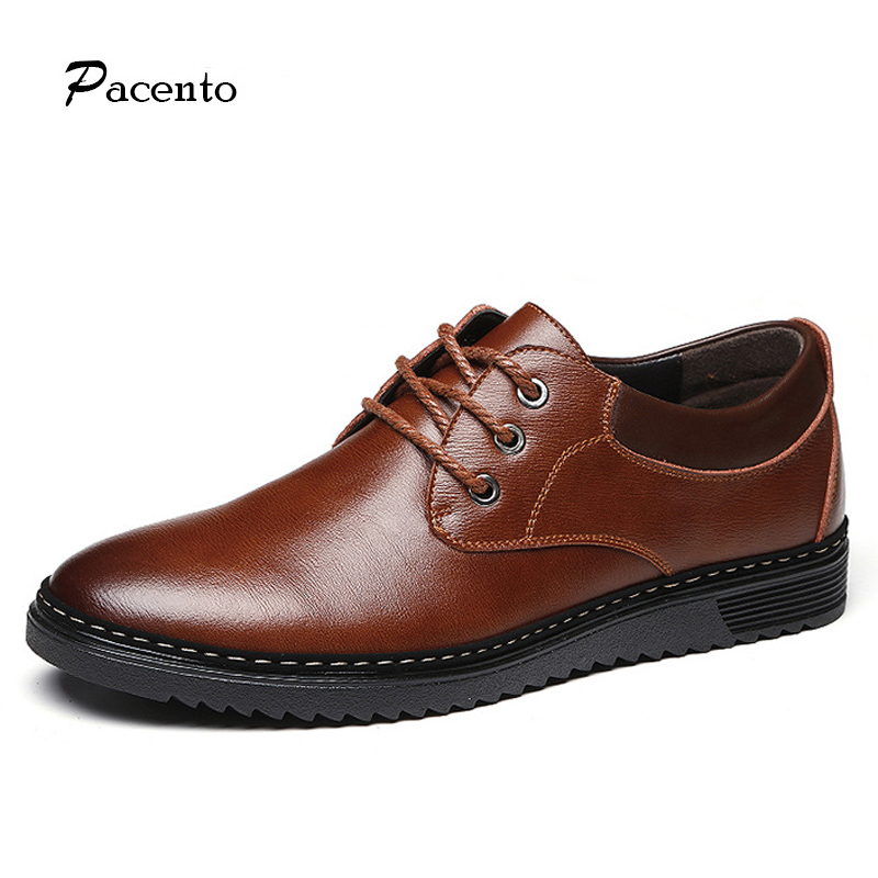PACENTO Luxury Brand Shoes Men Leather Shoes Genuine Leather High Quality Cow Shoes Mens Casual Lace Up Shoe Chaussure Homme top brand high quality genuine leather casual men shoes cow suede comfortable loafers soft breathable shoes men flats warm