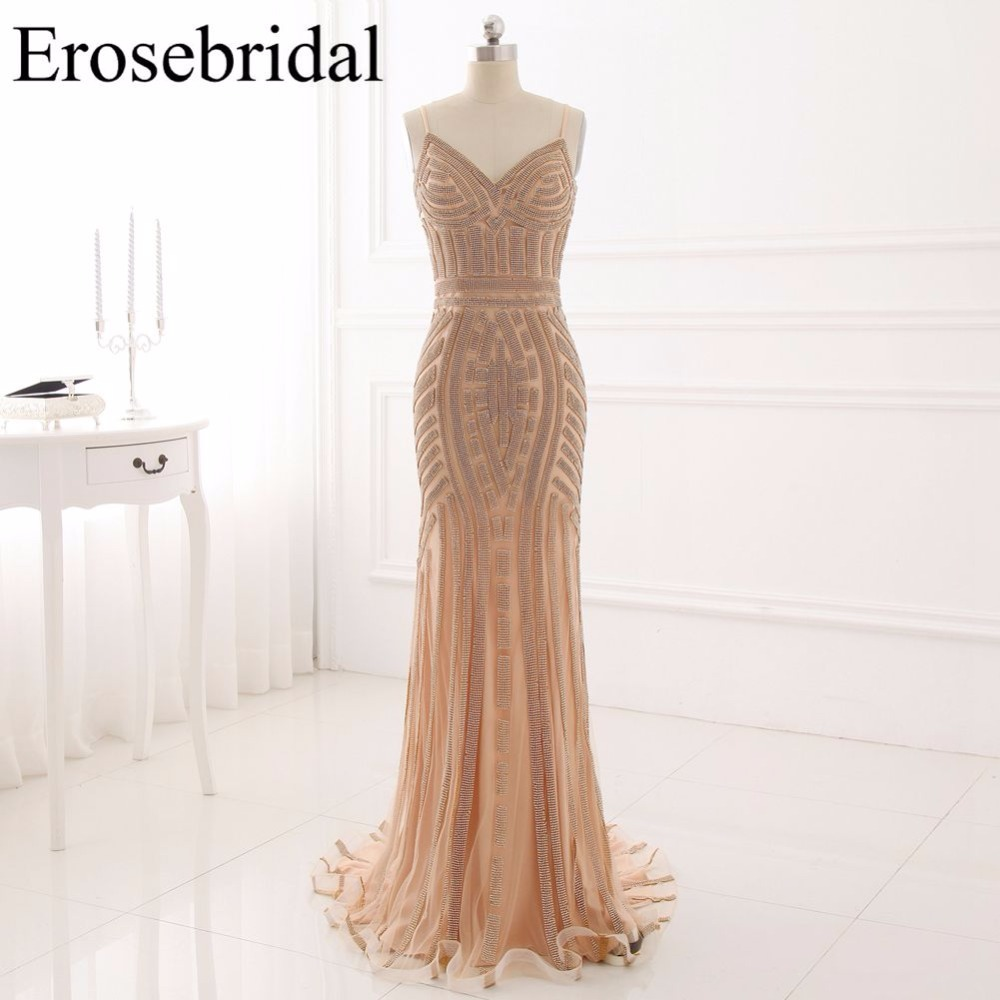 Evening Dresses Sexy Mermaid Backless Formal Women Wear 2018 Spaghetti Strap V Neck Robe De Soiree Vestido De Festa