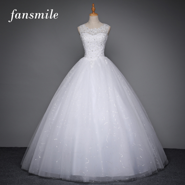 Fansmile Korean Lace Up Ball Gown Quality Wedding Dresses 2017 Plus Size Bridal Alibaba Wedding Dress Real Photo Free Shipping