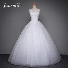 Fansmile Real Photo Korean Vintage Lace Up Wedding Dress 2016 Plus Size Bridal Ball Gown Cheap Vestidos de Novia Free Shipping