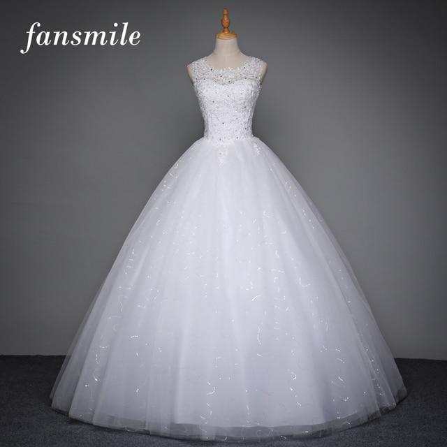 Fansmile корейский зашнуровать бальное платье качество свадебное платье 2017 плюс размер свадебные платья alibaba свадебное платье real photo бесплатная доставка