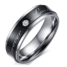 High Quality Stainless Steel Ring With IP Black Plating  AAA Cubic Zirconia DIY Letter For Valentine's  Day's Gift