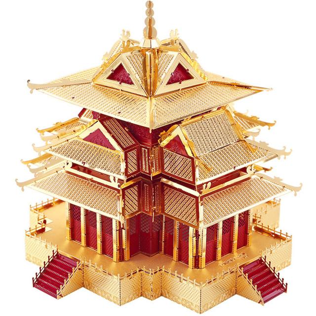 A torre de vigia da cidade proibida de Construção Piececool P075-RG DIY 3D Jigsaw puzzle DIY Brinquedos modelo de Metal de corte a laser Para a Auditoria