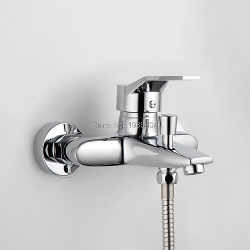 цены Chrome Shower Mixer Shower Sets Hot and Cold Mixing Valve Chrome Polish Bathroom Shower Set CS1002