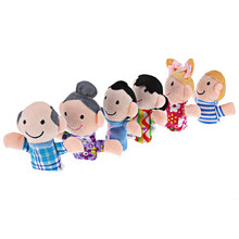 6Pcs Funny Finger Puppets Story Mini Cute Figure Baby Plush Biological Play Learn Family Telling Tale Kids Children Toy