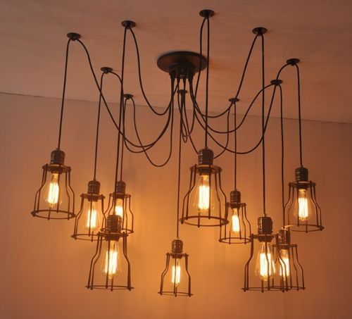 hanging lighting fixtures for kitchen 10 lights loft living room pendant light vintage 6994