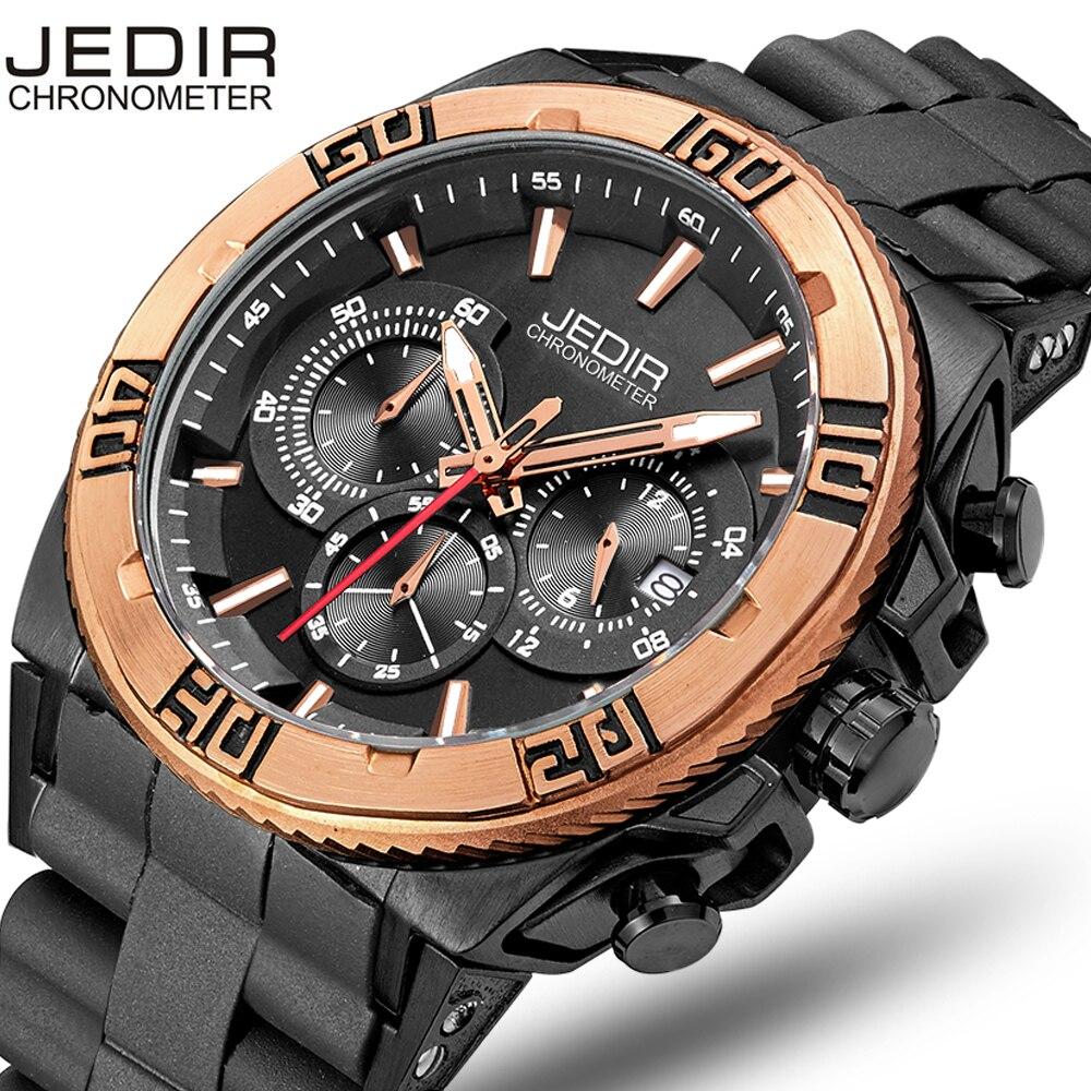 все цены на JEDIR Top Brand Chronograph Men Watch Waterproof Fashion Casual Silicone Strap Military Sport Watches Clock Relogio masculino онлайн