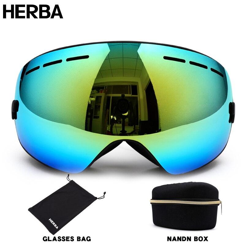 Prix pour Nouveau HERBA marque ski lunettes Ski Lunettes Double Lentille UV400 Anti-brouillard Adulte Snowboard Ski Lunettes Femmes Hommes de Neige lunettes