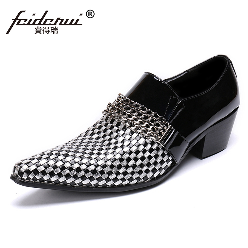 Fashion Pointed Toe Slip on Man Formal Dress Punk Loafers Genuine Leather Handmade Wedding Party Mens High Heels Shoes SL360Fashion Pointed Toe Slip on Man Formal Dress Punk Loafers Genuine Leather Handmade Wedding Party Mens High Heels Shoes SL360