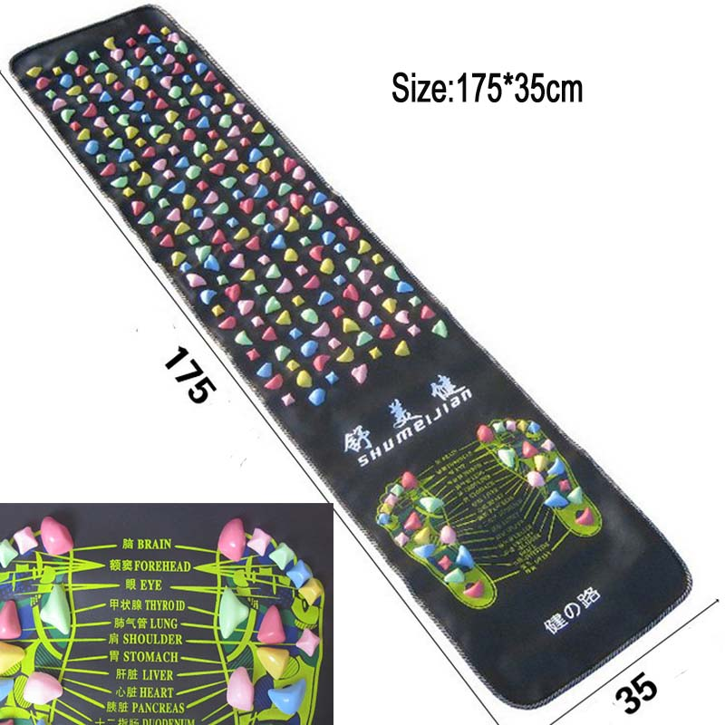 Foot Massage Mat Massager Plastic Stone Pad Health Road Fitness Walking Carpet Acupuncture Massage 175*35cm Relax Pain
