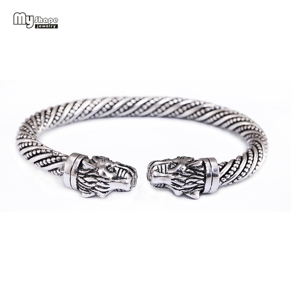 My Shape Viking Bangle Tiger Bracelet Men Silver Plated Cuff Bracelets Bangles for Women Indian Fashion Jewelry Accessories bangle