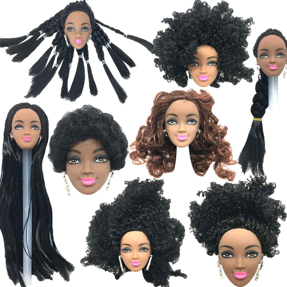 NK One Pcs Black Doll Hair Head For Girls Dolls for AS FR Dolls Black Africa Explosion Hairstyle DIY Best For Girls'Doll Gift jj image