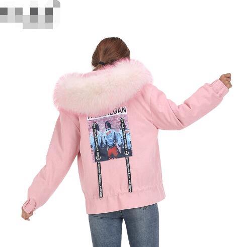 Capuchon À Light Doublure Col Blue Longues Veste Nouvelle Lapin D'hiver Manteau Casual 2018 pink black Fourrure Femelle Manches Mode Femmes Réel De Retour Parka Impression w7qIfx