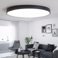 LED Ceiling Lights Ceiling Light Lamp 5cm Thin Round 12W/18W/30W Living Room Bedroom Light Black/White Lampara Techo Plafondlamp