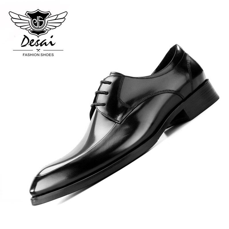 2019 ฤดูร้อนรองเท้าสไตล์ใหม่ผู้ชาย Pointed Toe ธุรกิจรองเท้าสบายๆหรูหราหนังแท้รองเท้าหนังผู้ชายอย่างเป็นทางการ-ใน รองเท้าทางการ จาก รองเท้า บน   1