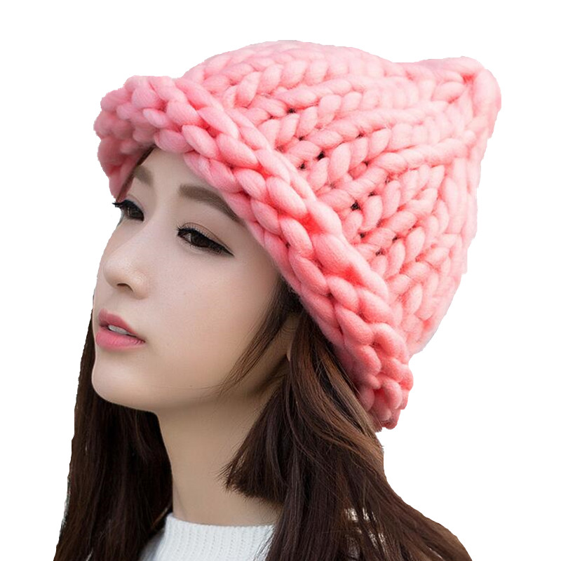 Simple girl Casual Cotton Acrylic Rushed New Fashion Female Winter wool Hats Hand Coarse Knitted Hat For Women Beanies