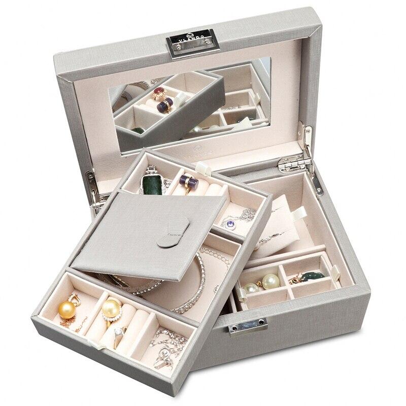 Boîte à bijoux en bois européenne boîte à bagues boîte de rangement Double serrure stockage de bijoux anniversaire présent mode gris