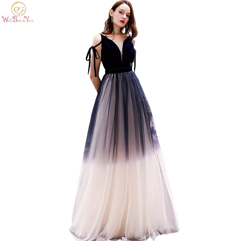 Navy Blue   Prom     Dresses   Gradient Color Champagne Tulle V-neck Off Shoulder Elegant A-line Long Empire Waist Evening Gowns Stock