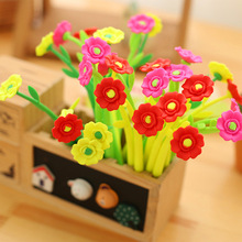 48pcs/lot Creative Novel Flower Rose Soft Silicone Gel Pen 0.38mm Black Ink Water Promotion Gift Sign