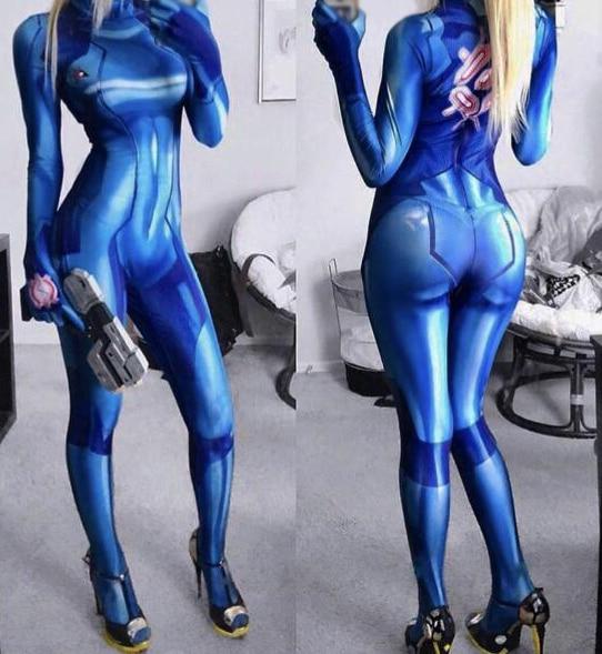 3D Print Blue Samus Zero Cosplay Costume Cheap Spandex Zentai Suit Custom Made Halloween Costumes for Woman
