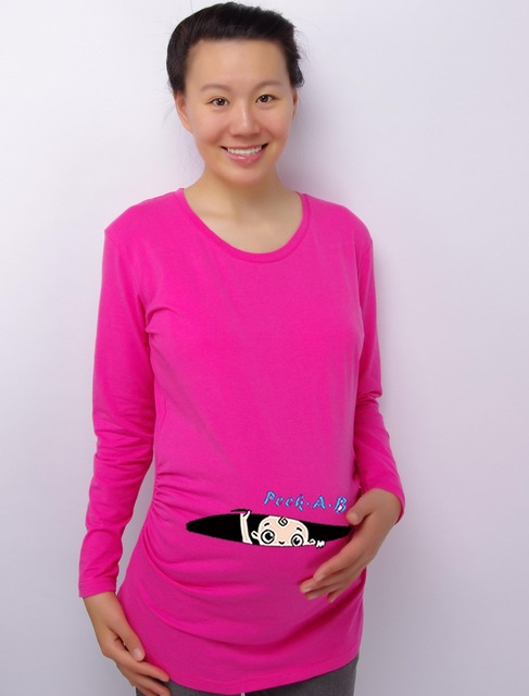 Baby Peek-a-Boo 100% Cotton Maternity Shirt Maternity Clothing for pregnant women Plus Size XXL Free Shipping
