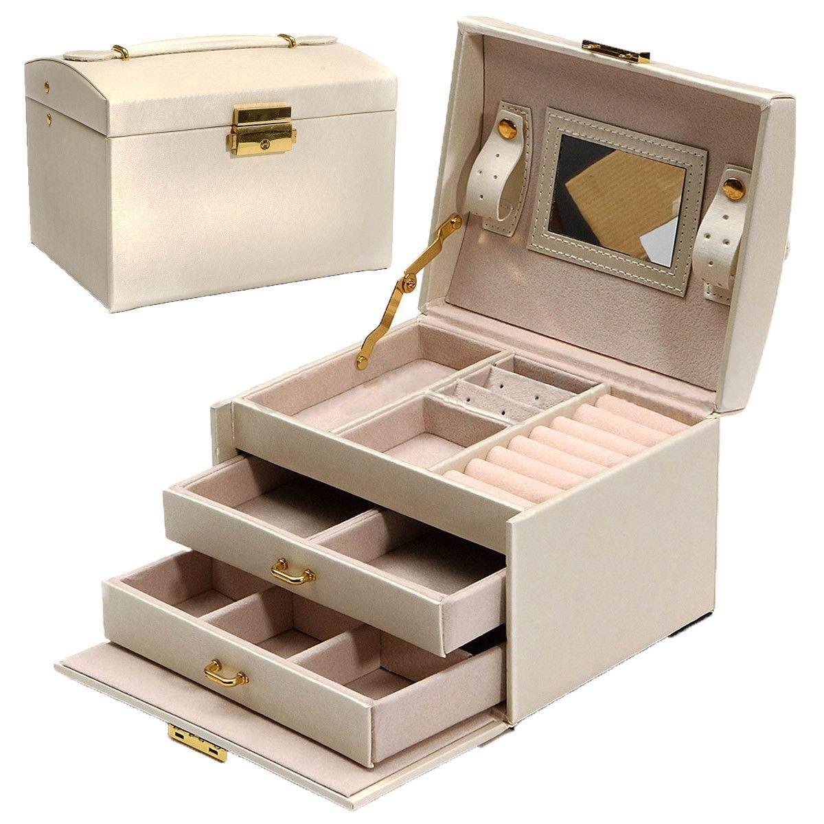 Grand coffre à bijoux Armoire Dressing avec fermoirs Bracelet anneau organisateur