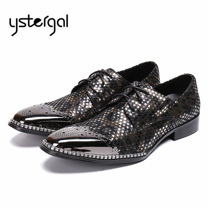 YSTERGAL 2018 New Men Oxford Shoes Metal Toe Male Wedding Leather Shoes Mens Lace Up Business Formal Dress Flats Zapatos Hombre mabaiwan fashion new design leather dress men shoes lace up italy business wedding formal shoes men metal pointed toe male flats