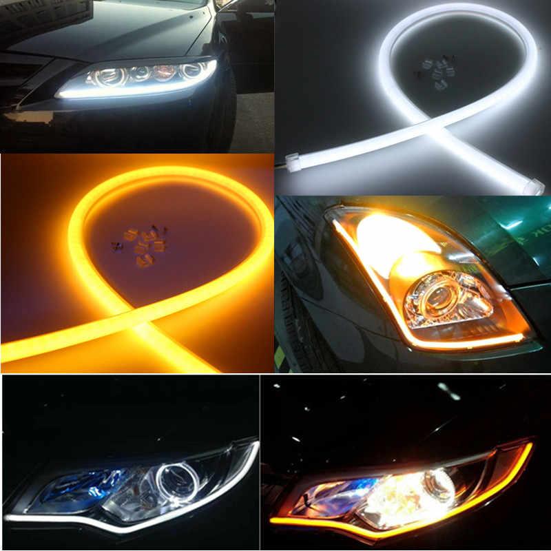 2ピース60センチ車柔軟なストリップledアンバーシーケンシャルフラッシャー流れるスイッチバックターン信号光エンジェルアイdrlランプヘッドライト