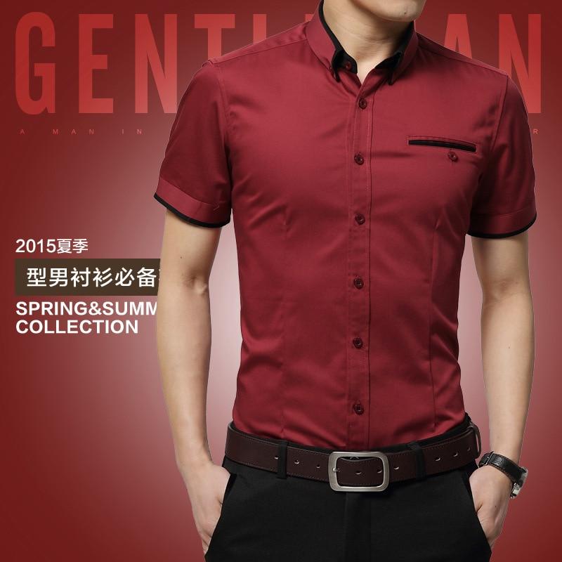 2018 New Arrival Brand Mens Summer Business Shirt Short Sleeves Turn-down Collar Tuxedo Shirt Shirt Men Shirts Big Size 5XL