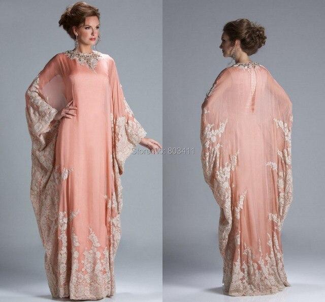 Vintage Dubai Kaftan vestido del cuello de O con plena mangas Coral ...