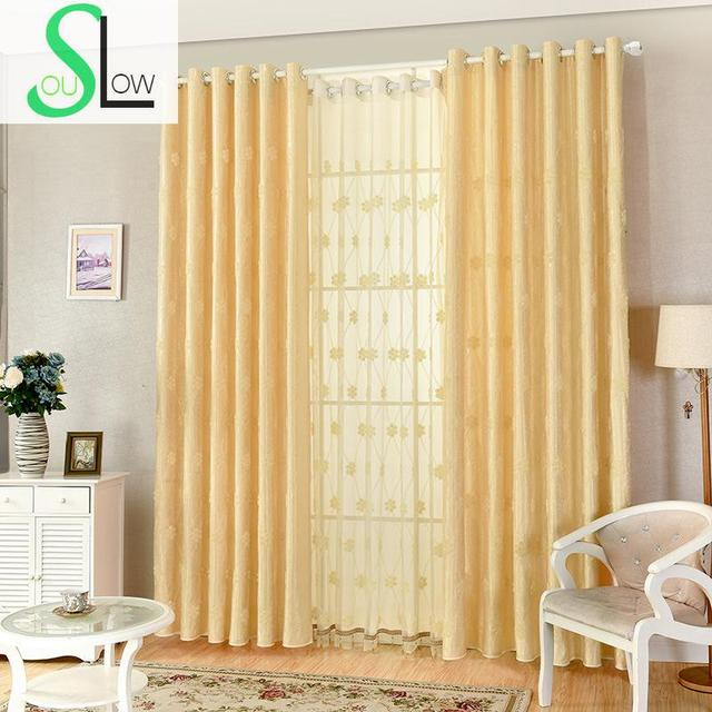 Slow Soul Beige Simple Living Room Bedroom Curtains Embroidered For ...