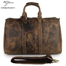 Genuine leather Retro bag  Crazy Horse man Handbag Bag  Fashionable wearable large capacity multifunctional travelling bag 7077