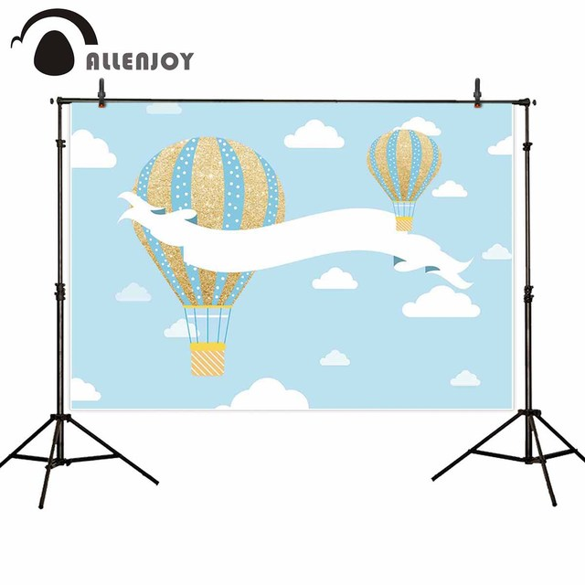 Allenjoy backgrounds for photography studio Blue sky white clouds gold blue stripe hot air balloon backdrop customize photocall