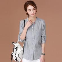 shintimes Korean Blouse Women Clothes 2019 Long Sleeve White Shirt Ladies Tops Chemise Femme Cotton Striped Woman Shirts
