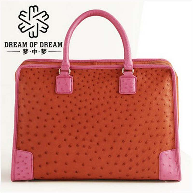 mengzhongmeng Ostrich leather Ladies' leather handbag lady handbag with leather handbag купить
