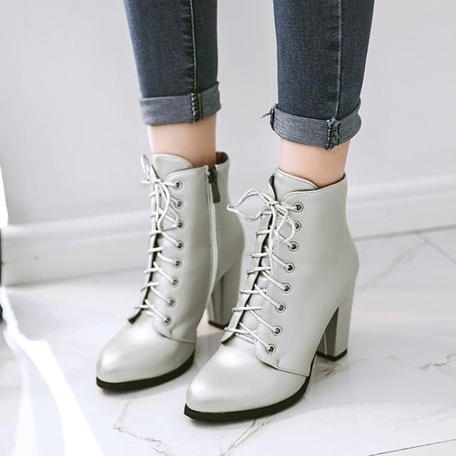 34 Heels Us32 Frauen Silber 43 Plus Stiefel Lace Up Mode Stiefeletten Kleid 34Off Schwarz 2017 Neue Schuhe pxelena Winter 34 High VqGSzMUp
