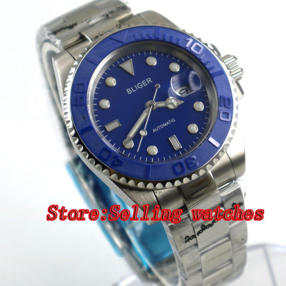 40mm Bliger blue Dial Sapphire Glass Stainless Steel Date ceramic bezel Luminous Men
