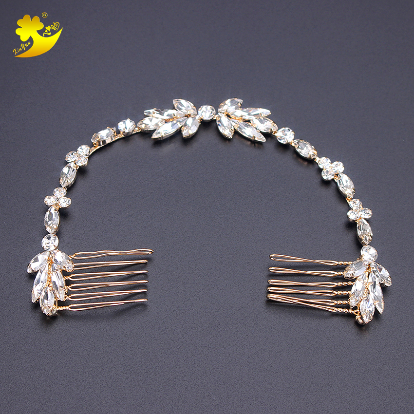 Xinyun New Products Wedding Hair Combs Rhinestones Hair Jewelry Bridal Hair Bands Wedding Accessories Bride Hair Ornament недорого