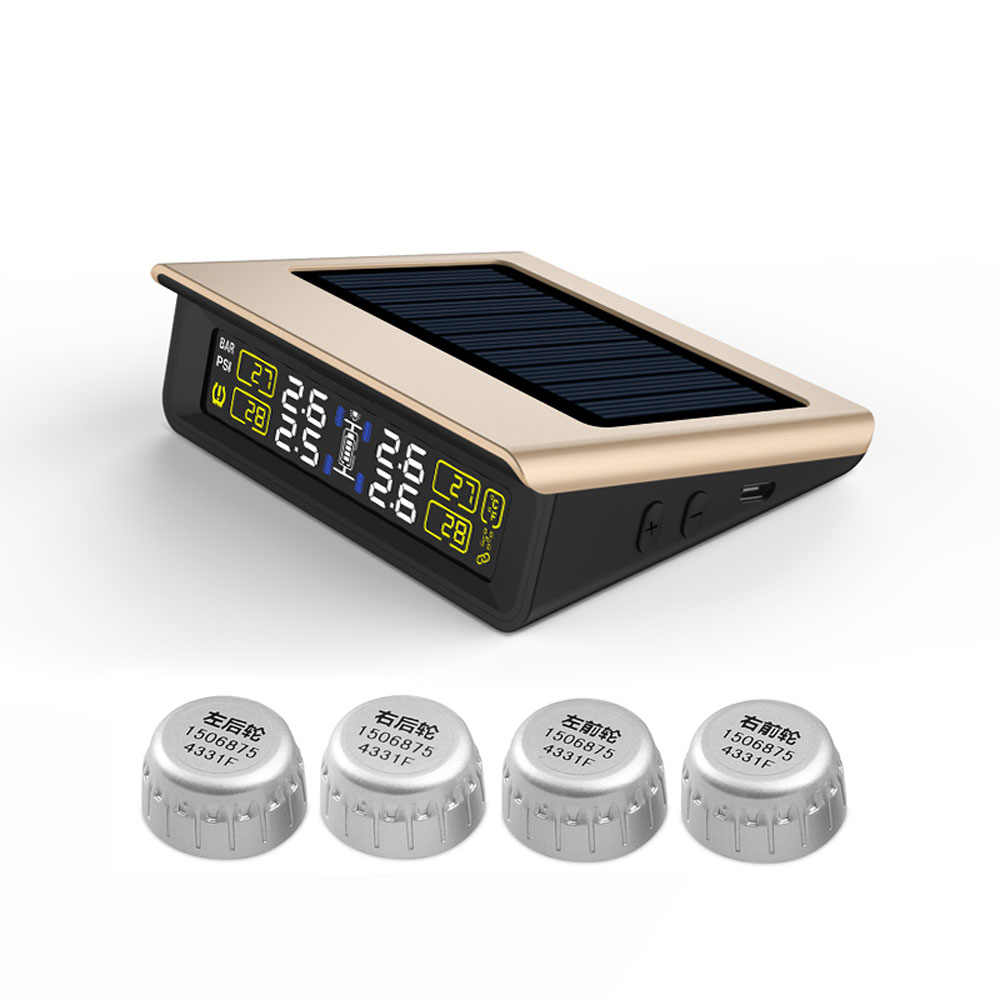 T86W CAREUD TPMS de Monitorização da Pressão Dos Pneus Do Carro inteligente de Energia Solar Sistema de Energia Solar De carregamento Display LCD Digital sem fio TPMS