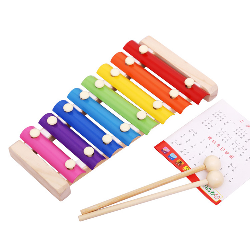 Kids Wooden 8 Notes Musical Hand Knock Xylophone Educational Toys Piano
