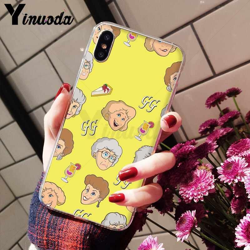 Yinuoda Vàng Bé Gái Họa Tiết Bé Gái Silicone Mềm Điện Thoại TPU cho iPhone X XS MAX 6 6S 7 7plus 8 8Plus 5 5S XR