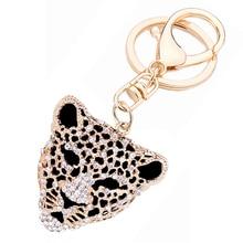 Fashion Rhinestone Animals Leopard Head Keyring Keychain Creative Charm Key Holder Ring llaveros for Girl Bag Jewelry Gift R036